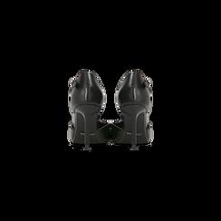 Décolleté nere con cinturino a T, tacco 5 cm, Scarpe, 124820729EPNERO, 003 preview