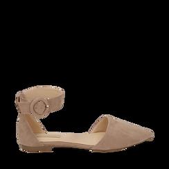 Ballerines beige en microfibre, Chaussures, 154841142MFBEIG035, 001a