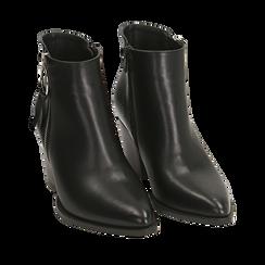Ankle boots a punta neri, tacco 7,50 cm , 160598319EPNERO036, 002a