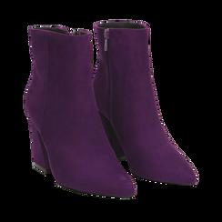 Ankle boots viola, tacco trapezio 8,5 cm, Scarpe, 144961020MFVIOL035, 002a