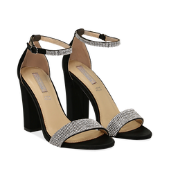 Sandali neri in raso con mini cristalli, tacco 10,5 cm, Scarpe, 132150553RSNERO035, 002a
