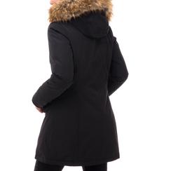 Piumino con cappuccio nero in nylon, Abbigliamento, 148500598NYNERO3XL, 002a