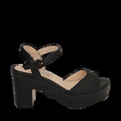 Sandali neri in eco-pelle intrecciata, tacco zeppa 8,50 cm , Primadonna, 158480212EINERO035, 001a