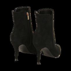 Ankle boots a punta neri in microfibra, tacco 8,5 cm , Stivaletti, 141764344MFNERO035, 004 preview