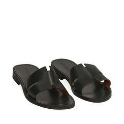 Chaussons noirs en cuir de vachette, Primadonna, 15D620004VANERO036, 002a