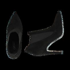 Ankle boots neri in microfibra, tacco 10,50 cm , Primadonna, 162123741MFNERO036, 003 preview