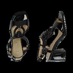 Sandalias en charol color negro, tacón 6,50 cm , OPORTUNIDADES, 152166341VENERO036, 003 preview