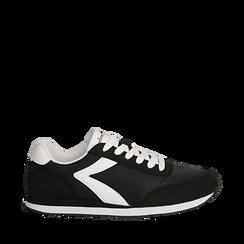 Sneakers nere in tessuto, design aerodinamico, Scarpe, 132619024TSNERO036, 001a