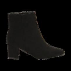 Ankle boots neri in microfibra, tacco 6 cm , Stivaletti, 144916811MFNERO037, 001 preview