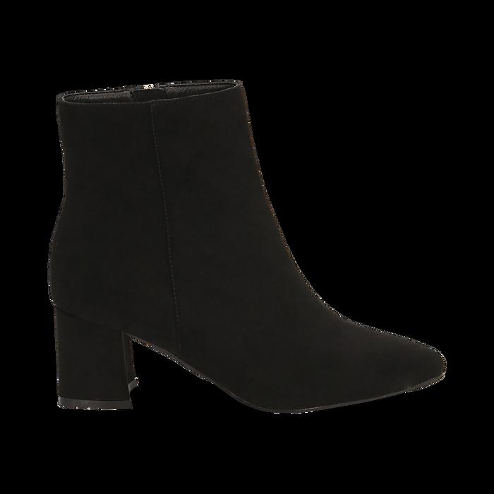 Ankle boots neri in microfibra, tacco 6 cm , Stivaletti, 144916811MFNERO037