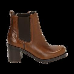 Chelsea boots cuoio in pelle, tacco 7,50 cm , Primadonna, 167734401PECUOI035, 001 preview