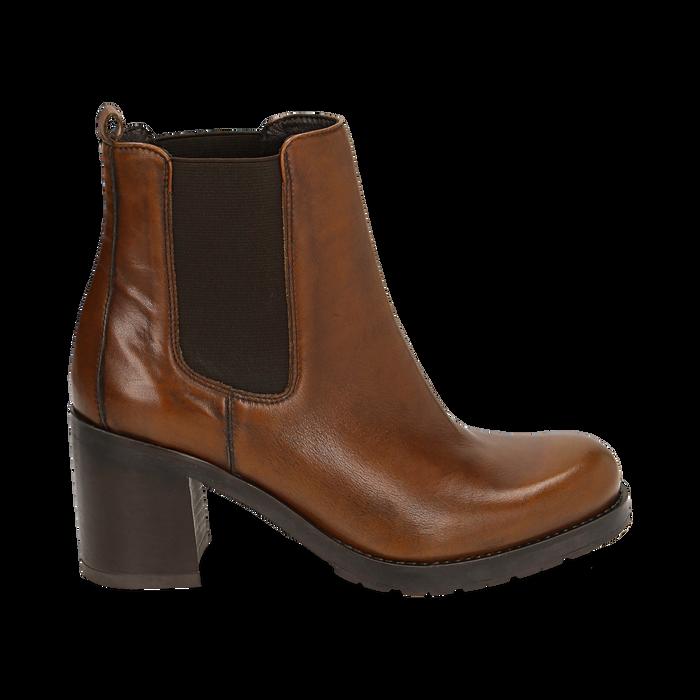 Chelsea boots cuoio in pelle, tacco 7,50 cm , Primadonna, 167734401PECUOI035