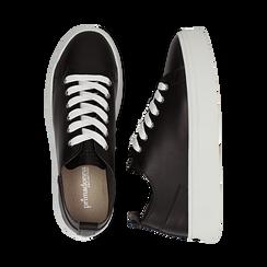 Sneakers nere in eco-pelle, Scarpe, 132500778EPNERO036, 003 preview