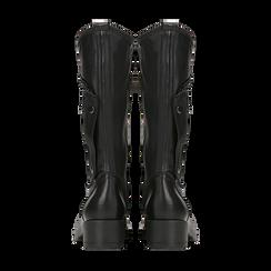 Biker neri in vera pelle con gambale asimmetrico, Primadonna, 125610025VINERO, 003 preview