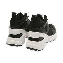Sneakers nere in tessuto tecnico, zeppa 9 cm , Primadonna, 177590504TSNERO035, 004 preview