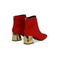 Tronchetti rosso-oro con tacco scultura 6 cm, Scarpe, 122707125MFROOR036, 005 preview