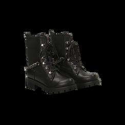 Anfibi neri con dettagli metal, tacco basso, Scarpe, 122946710EPNERO, 002 preview