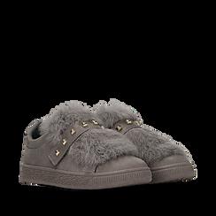 Sneakers grigie slip-on con dettagli faux-fur e borchie, Primadonna, 129300023MFGRIG038, 002a