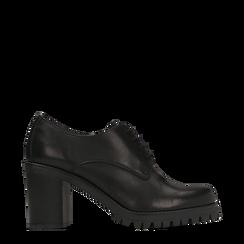 Francesine stringate nere in vera pelle, tacco 8 cm, Primadonna, 127723812PENERO038, 001a