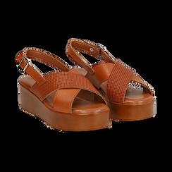 Sandali platform cuoio in eco-pelle, zeppa 5 cm ,
