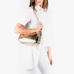 Petit sac porté épaule doré en simili-cuir brillant, Primadonna, 155127201LMOROGUNI, 002a