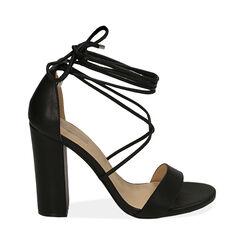 Sandali lace-up neri, tacco 10,50 cm , Primadonna, 172760851EPNERO035, 001 preview