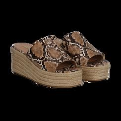 Zeppe platform beige in eco-pelle, effetto snake skin, zeppa in corda 7 cm, Saldi, 132708151PTBEIG036, 002 preview