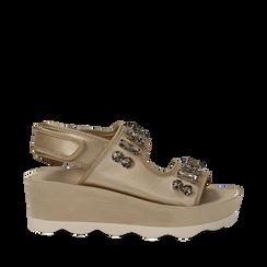 Sandali platform beige in raso con cristalli, zeppa 5,5 cm , Primadonna, 119909492RSBEIG036, 001a
