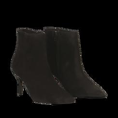 Tronchetti neri in vero camoscio, tacco midi 8 cm, Primadonna, 12D618502CMNERO037, 002a