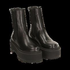Chelsea boots neri in pelle di vitello, suola 6 cm , Primadonna, 168900202VINERO036, 002 preview