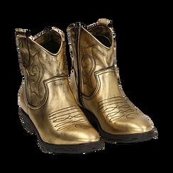 Camperos oro in laminato, Stivaletti, 148900250LMOROG036, 002a