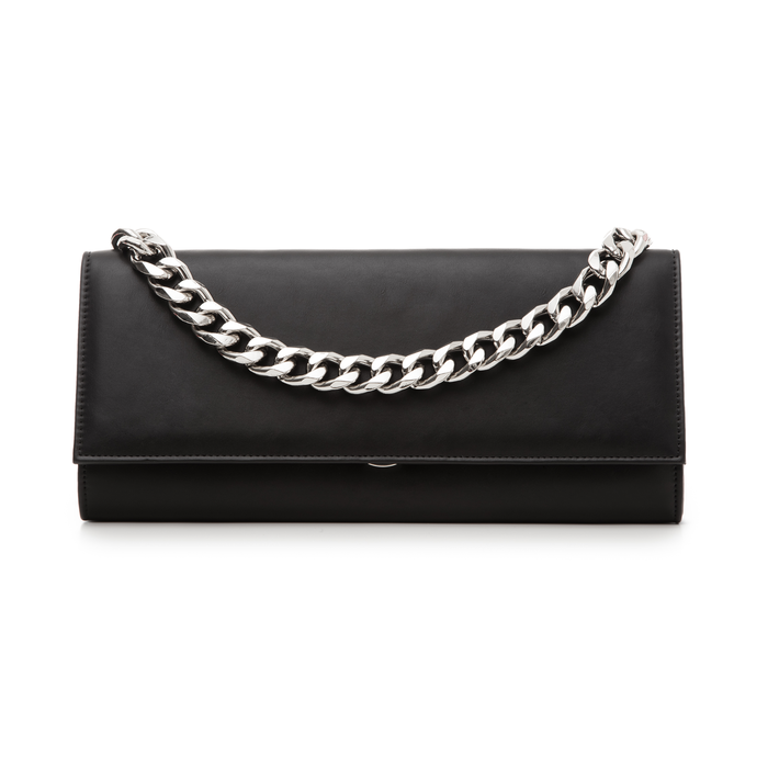 333efe4501 Pochette nera in eco-pelle con maxi-catena donna | Primadonna Collection