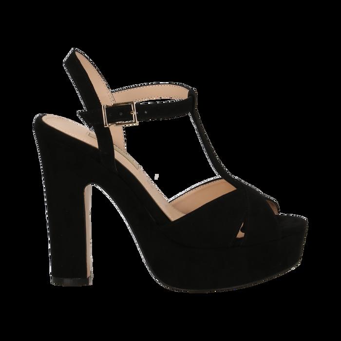 Sandali con plateau neri in microfibra, tacco 13 cm, Scarpe, 138404162MFNERO036