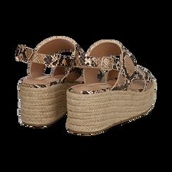 Sandali platform beige in eco-pelle, effetto snake skin, zeppa in corda 7 cm , Primadonna, 132708157PTBEIG036, 004 preview
