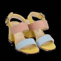 Sandalo multicolor in microfibra, tacco 8 cm, Sandali con tacco, 136100005MFCELE036, 002a