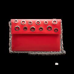Pochette bustina rossa in ecopelle con oblò dorati, Borse, 123308604EPROSSUNI, 003 preview