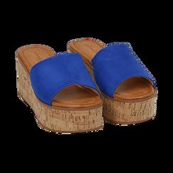 Ciabatte blu cobalto in microfibra, zeppa 7,50 cm , Zapatos, 154968121MFBLCO039, 002 preview