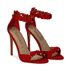 Sandali rossi in microfibra, tacco a stiletto 11 cm, Scarpe, 132120685MFROSS035, 002 preview