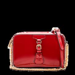 Camera bag bordeaux con tracolla, ecopelle vernice, Borse, 121818008VEBORDUNI, 001a