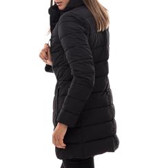 Piumino nero in nylon con chiusura asimmetrica, Abbigliamento, 146501208NYNERO3XL, 002a