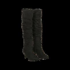 Stivali neri scamosciati con gambale drappeggiato, tacco medio 4 cm, Scarpe, 122707336MFNERO036, 002