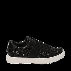 Zapatillas color negro con lentejuelas , Primadonna, 162619071PLNERO035, 001a
