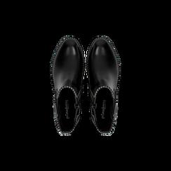 Chelsea Boots neri con mini-borchie, tacco basso, Scarpe, 129309823EPNERO, 004 preview