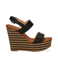 Sandali platform neri in eco-pelle, zeppa rigata 13 cm , Scarpe, 134986213EPNERO035, 001a