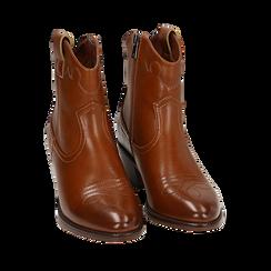 Ankle boots cuoio, tacco 5,50 cm, Primadonna, 150693111EPCUOI036, 002a