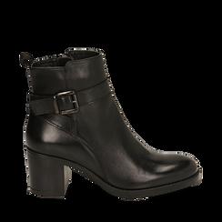 Ankle boots neri in pelle di vitello, tacco 6,50 cm , 16D808225VINERO035, 001a