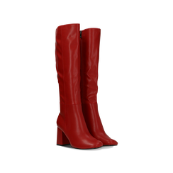Stivali rossi punta arrotondata, tacco 7,5 cm, Scarpe, 122182011EPROSS036, 002