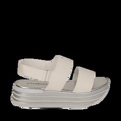 Sandali platform bianchi in eco-pelle, Scarpe, 136700207EPBIAN036, 001a