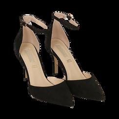 Escarpins avec une lanière en microfibre noir, talon de 9 cm, Chaussures, 152106617MFNERO036, 002 preview