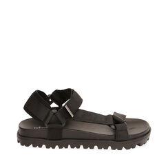 Sandales de plage en tissu noir, 170910057TSNERO037, 001a
